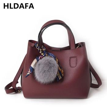 HLDAFA 2019 Composite Bag Soft PU Leather Women Handbag Two Pieces Female Shoulder Bag Girls Messenger bag Casual Women Bag