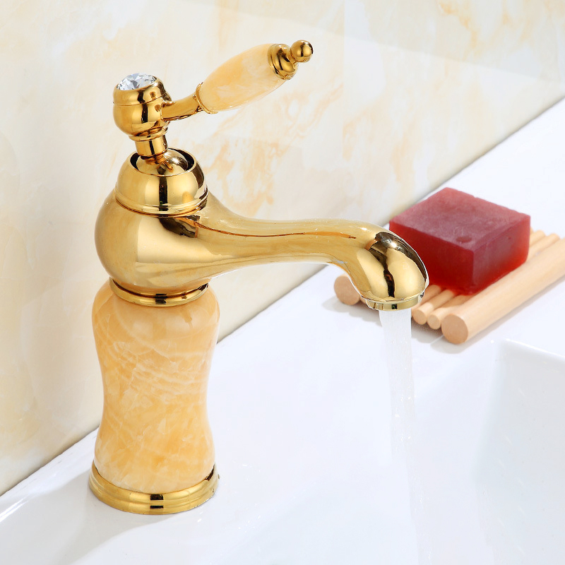 Bathroom Decorating Faucet Gold & Rose Gold Jade article Single handle Single Hole Sink Basin Faucet Bathroom Accessories