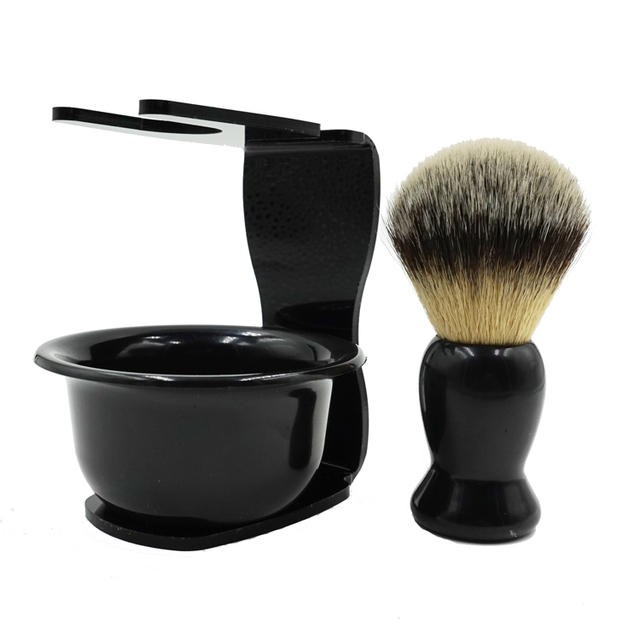 Professional 3 In 1 Shaving Soap Bowl Modern Design Bristle Hair Shaving Brush Shaving Cleaning Tool Acrylic Materials