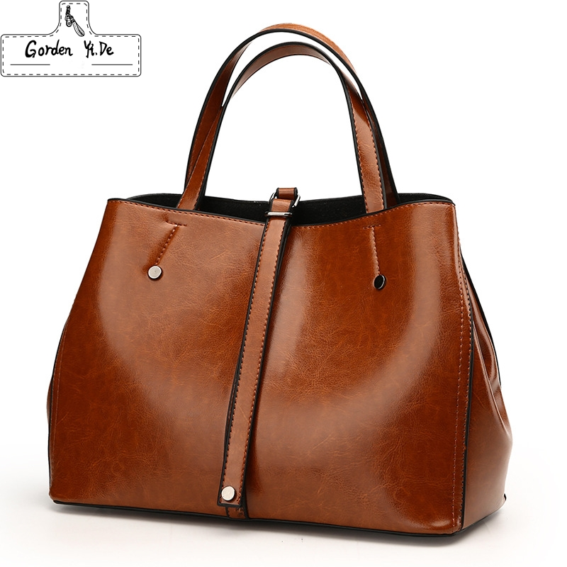 Luxury Ladies Boston Bag 2018 Famous Brands Women Genuine Leather Bags High Quality Designer Vintage Messenger Bag Handbags vintage women bag high quality crossbody bags luxury designer large messenger bags famous brands female shoulder bag tassen flap