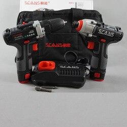 Furadeira de combinação sem fio/driver e driver de impacto kit de ferramentas elétricas duplas (2 baterias de íon de lítio, carregador e saco inclu