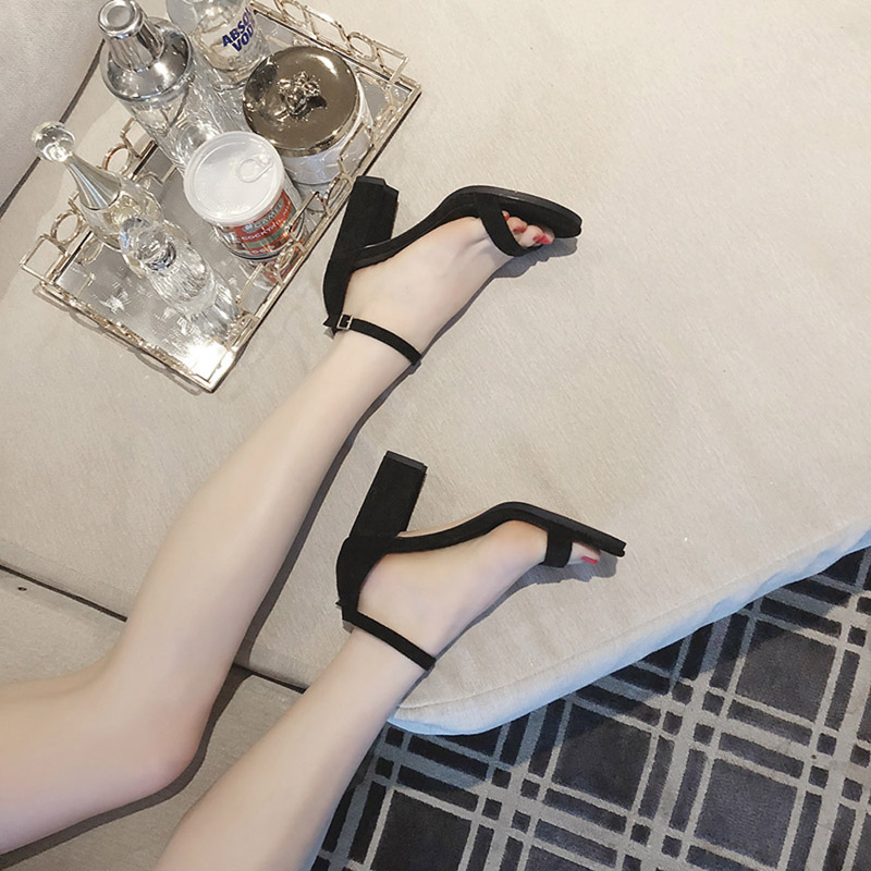 HTB1SANZzwmTBuNjy1Xbq6yMrVXaE GENSHUO 2019 Ankle Strap Heels Women Sandals Summer Shoes Women Open Toe Chunky High Heels Party Dress Sandals Big Size 42