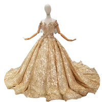 2018 New Gold Lace Tassel Sleeveless Sweetheart Chapel Train Bridal Gowns Lace Up Ball Gown Pregnant Vintage Wedding Dresses