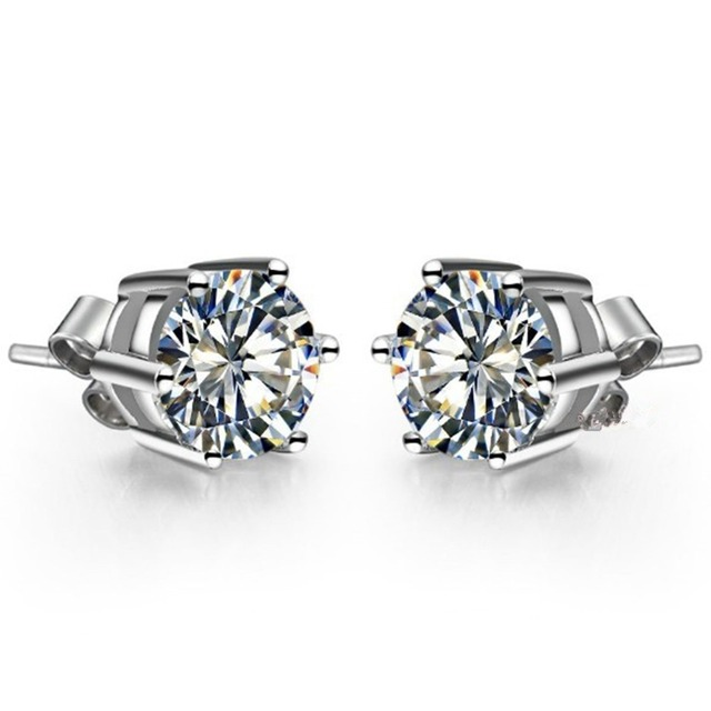 eae9e91a2c2 18k White Gold Earrings Cute Lovely 0.5Ct Piece Round Cut Lab Grown  Simulate Diamond Earrings Stud Engagement Bridal Jewelry