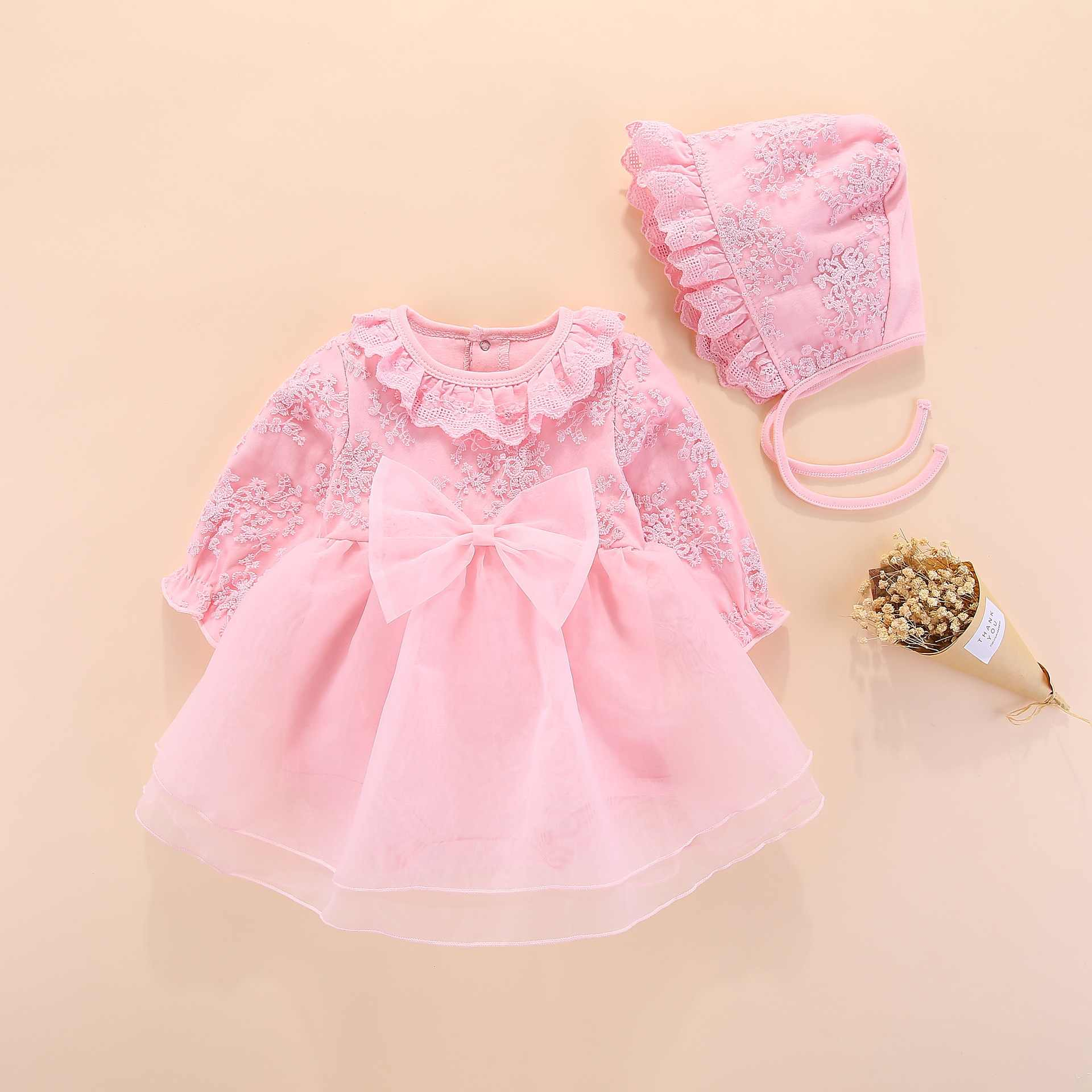 48374e4052a long sleeve baby girls dress princess and wedding baptism kids dresses  newborn baby girl clothes pink
