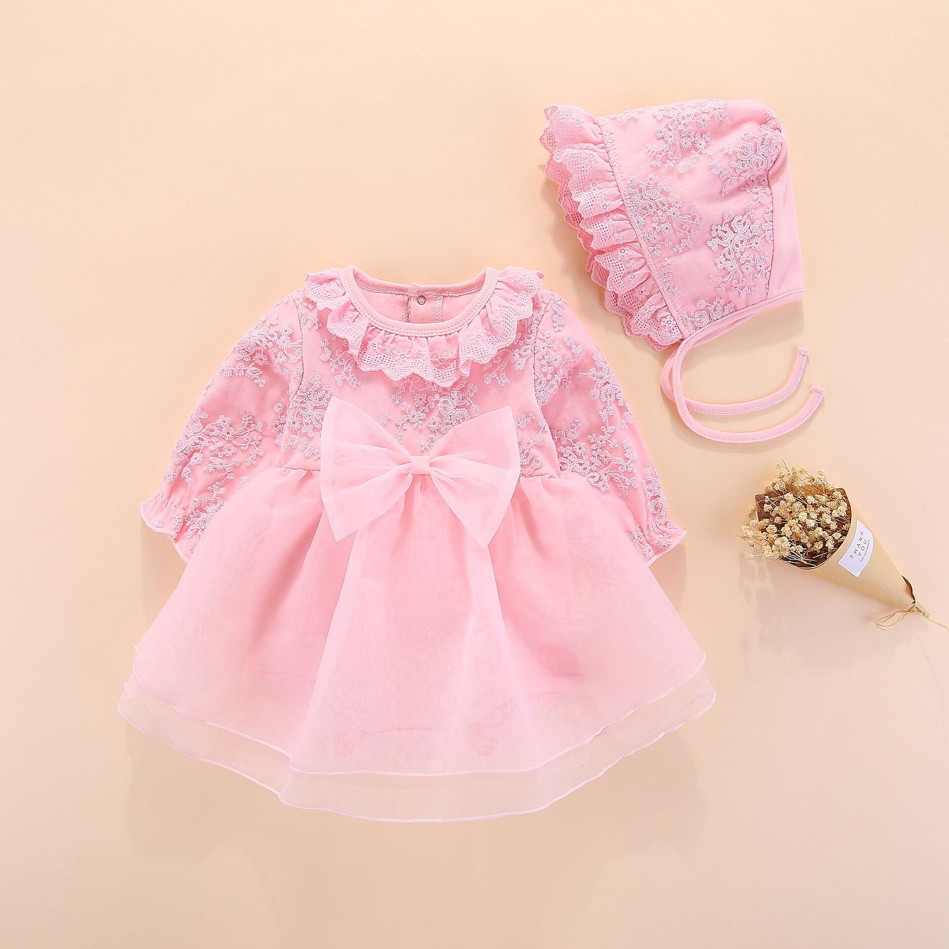 ebef8d269 Bebé de manga larga vestido niñas princesa boda bautismo niños vestidos de  bebé recién nacido niña ropa rosa con sombrero de encaje estilo