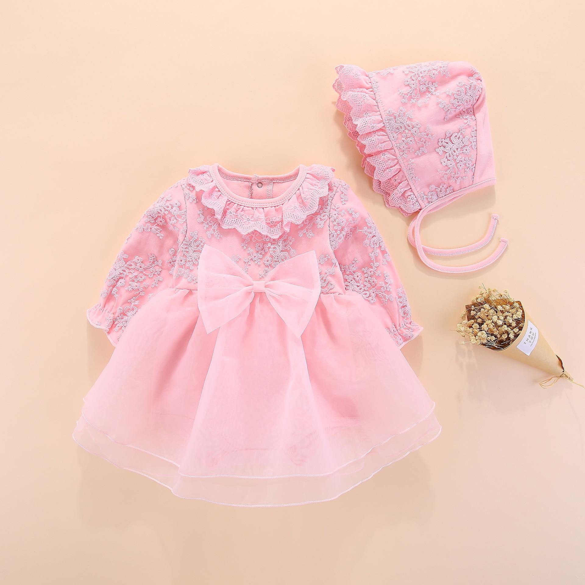 3c5c0ceecbf0 Manga longa bebê meninas vestido vestido de princesa de casamento e batismo  vestidos infantis do bebê recém-nascido conjunto de roupas de menina rosa  com ...
