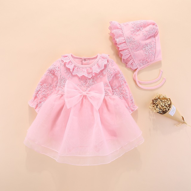 b83a22f76b857 long sleeve baby girls dress princess and wedding baptism kids dresses  newborn baby girl clothes pink set with hat lace style