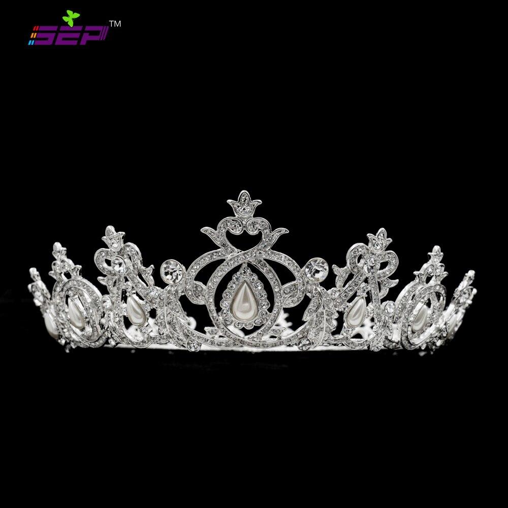 Real Austrian Crystals Pearl Tiara Crown Bridal Wedding Hair Jewelry Accessories SHA8738