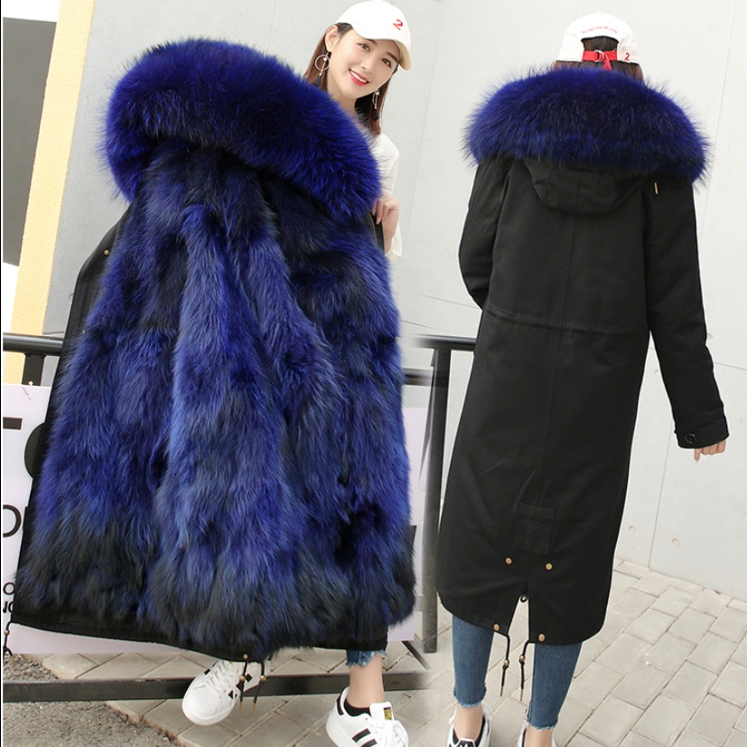 2017 new fashion women luxurious Large raccoon fur collar hooded coat warm Fox fur liner parkas long winter jacket top quality 2017 winter new clothes to overcome the coat of women in the long reed rabbit hair fur fur coat fox raccoon fur collar