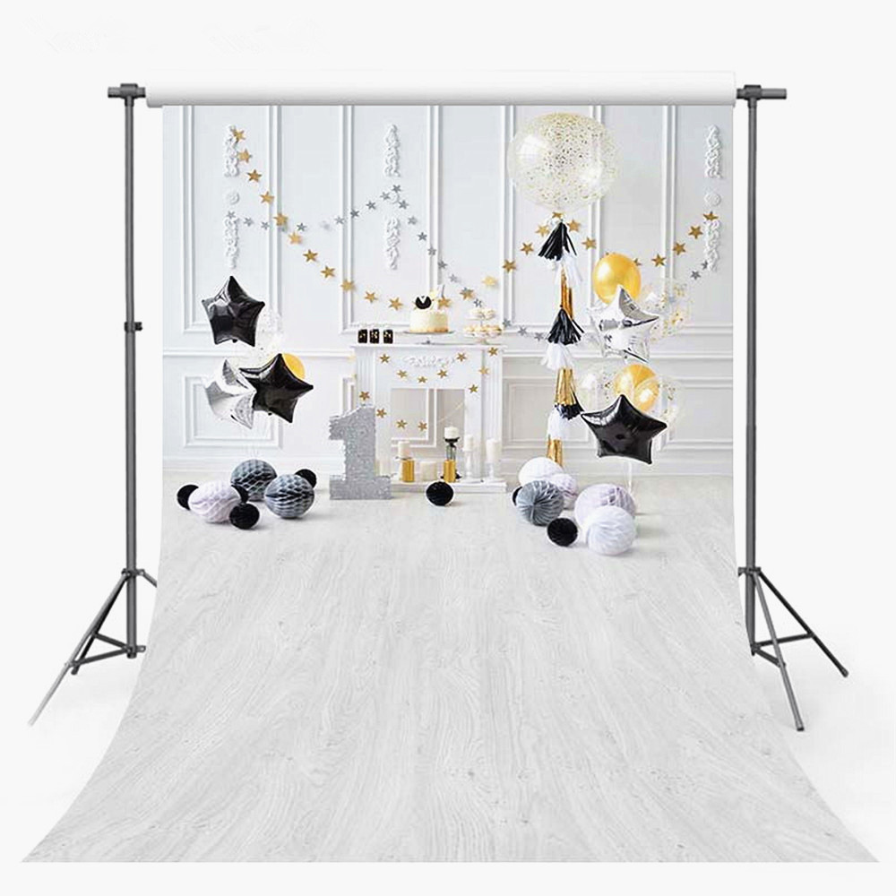 Black And Gold Stars Backdrops For Photography 1st Baby