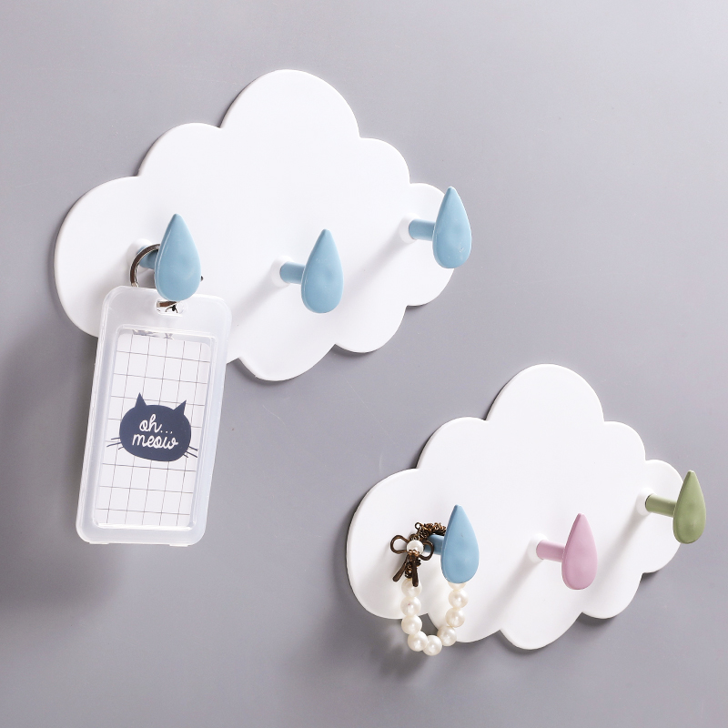 New Cloud shape PP wall decorative hooks Self-adhesive Sticky hook for hanging clothes coat hanger key holder home organizer