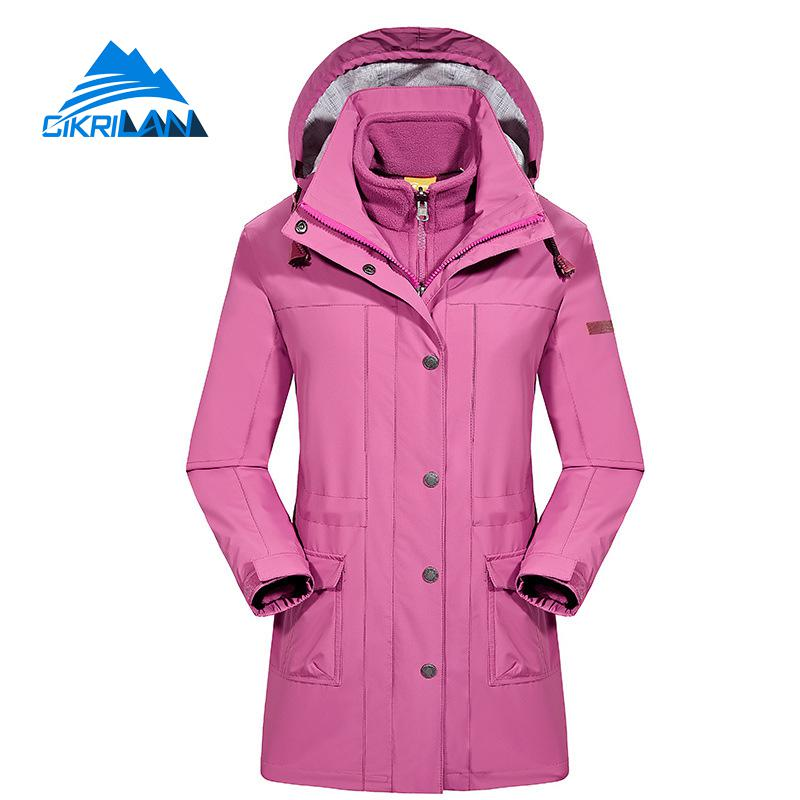 Womens Winter Long 3in1 Fleece Liner Windstopper Waterproof Outdoor Jacket Women Camping Ski Hiking Coat Fishing Casaco Feminino