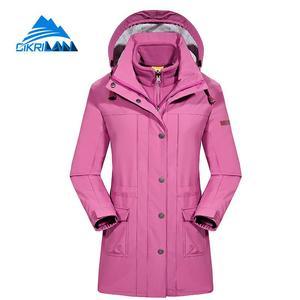 Chaqueta cortavientos 3 en 1 larga de invierno para mujer, chaqueta impermeable para exteriores, chaqueta para acampar, esquiar, senderismo, pesca, Casaco femenino