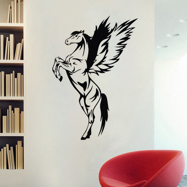 Pegasus Wall Stickers Home Decor Living Room Animals Horse Wall Decals Kids  Bedroom Nursery Wall Decoration