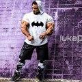 Бэтмен Тренажерные Залы Clothing 2017 Новый Короткий Рукав Рубашки с Капюшоном вздох Бодибилдинг и Фитнес Мужчины Футболку Большой Размер Tee