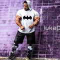 Batman Gyms Clothing 2017 New Short Sleeve T Shirt with Hooded Bodybuilding and Fitness Men Sporting T-Shirt Big Size Tee