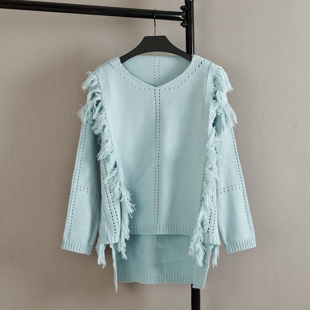 2016 Autumn V-neck Sweaters Women Fashion Plus Size Hollow Out Tassel Long Sleeve Knitting Sweater Pullovers KK1660