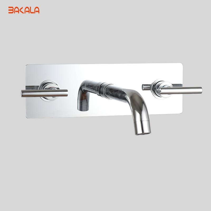 BAKALA 2018 Widespread Contemporary Bathroom Sink Sanitary 3PCS Wall Mount Faucet Mixer Tap (Chrome Finish) LT-319L china sanitary ware chrome wall mount thermostatic water tap water saver thermostatic shower faucet