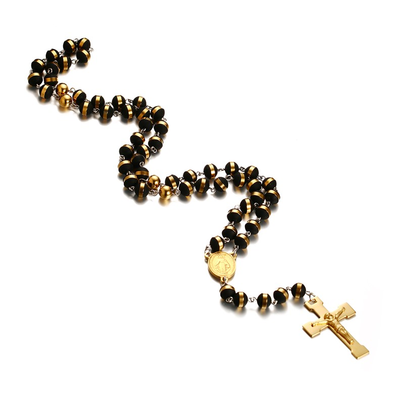 лучшая цена Men,Women's Stainless Steel Rubber Pendant Necklace Gold Tone Black Virgin Mary Jesus Christ Crucifix Cross Rosary 30 Inch Chain