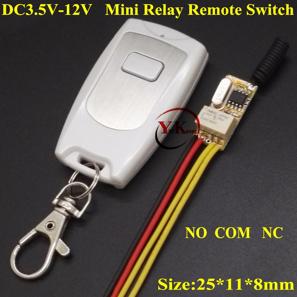 Mini Relay Remote Switch DC 3.6V 3.7V 4.2V 5V 6V 7.4V 9V 12V White Waterproof Transmitter NO COM NC Contact RF Wireless Switch dc 12v relay remote switch no com nc contact wireless switch 2a relay rf rx normally open close lithium aaa battery supply ask