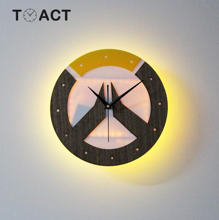 LED veilleuse horloge murale télécommande sans fil éclairage multicolore décoration de la maison horloges murales nordiques pour salon
