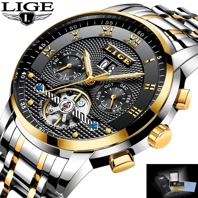 Nouveau 2018 LIGE marque montre hommes Top luxe automatique mécanique montre hommes en acier inoxydable horloge montres d'affaires Relogio Masculino