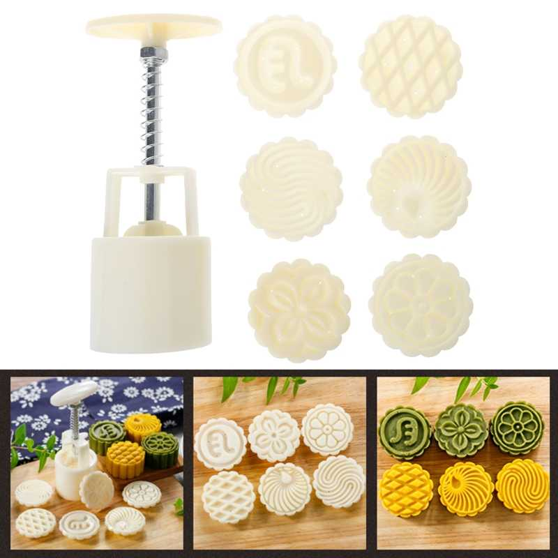 6 Flower Stamps Moon Cake Mould DIY Round Mooncake Mold Baking Decor Tool 63g