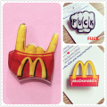Kawaii Harajuku Style McDonalds Badge Acrylic Brooch For Women/Man Clothes Badge Decorative Rozet Collar Scarf Lapel Pin Broach