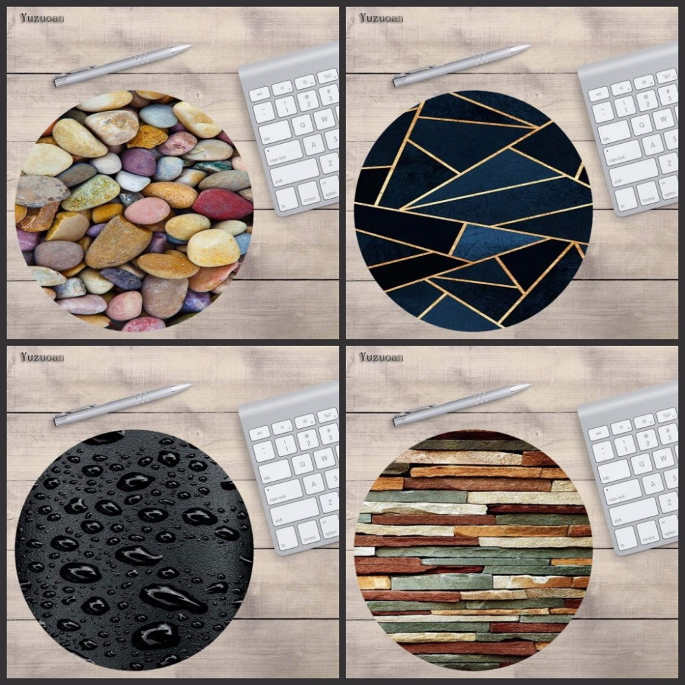Yuzuoan Stone, Glass, Water ,Wood Drop Gaming Mouse Pad Rubber Mouse Mat Round Keyboard Mat Table Mat for Gamer Decorate Desk