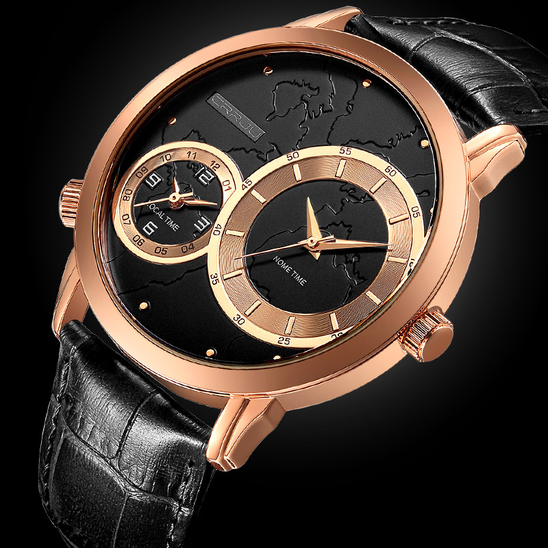 CRRJU Men Watch Luxury Brand Fashion Male Wristwatch 30M Waterproof Sport Watch Casual Genuine Leather Quartz Business Watches