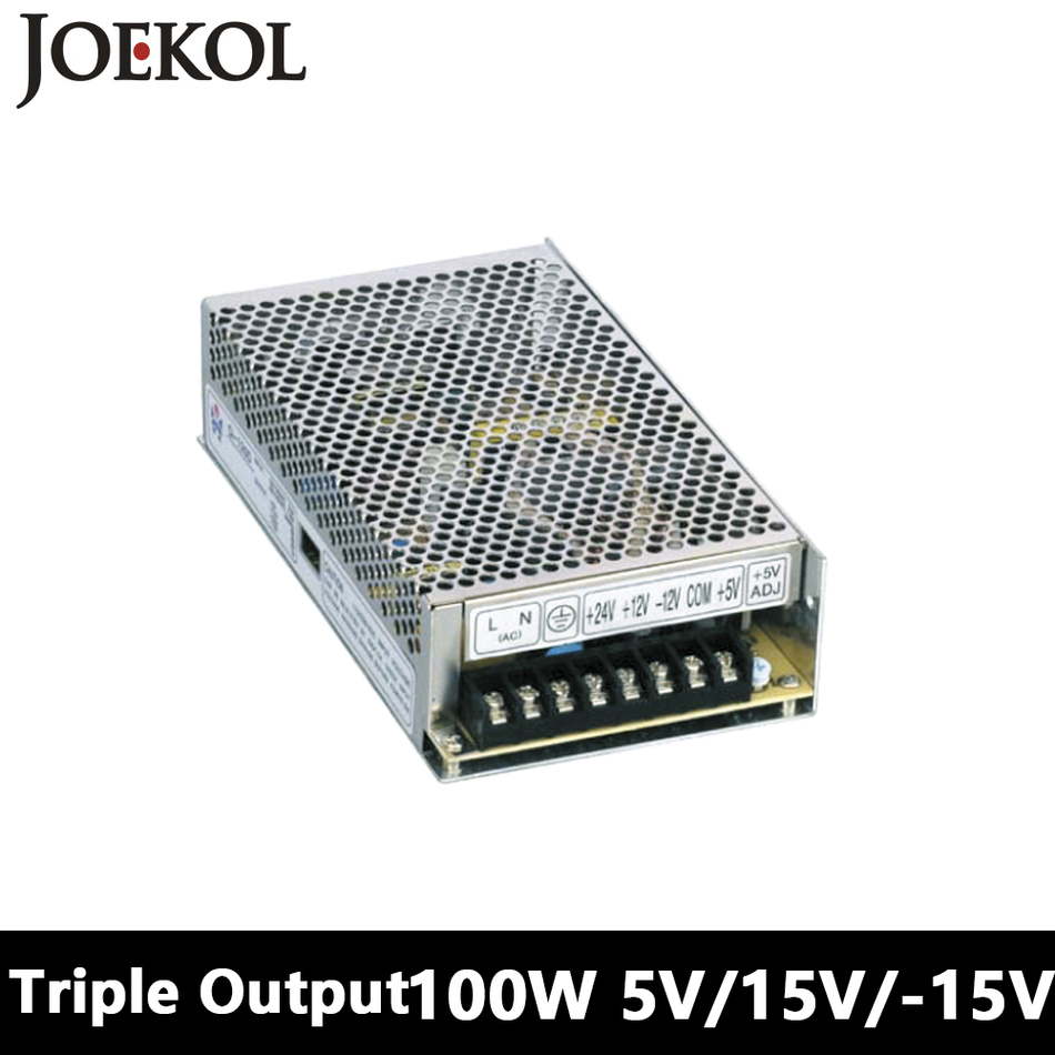 Triple output DC power supply 100W 5V 15V -15V,smps power supply for led driver,AC110V/220V Transformer to DC 5V 15V -15V s 100 12 100w 12v 8 5a single output ac dc switching power supply for led strip ac110v 220v transformer to dc led driver smps