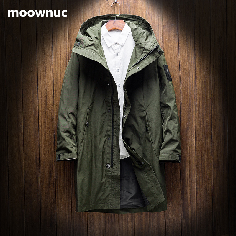 2018 New Style men's Fashion windbreakers Black Army green Autumn coats Men Jackets casual Man trench coat Homme full Size M-4XL