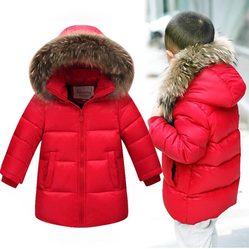 2016 New Thicken Solid Boys Winter Coat Real Fur Collar Hood Long Warm Boy WInter JacketsDuck Down kid Outwear Children Clothing