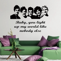 Large Size 100x57cm One Direction 1D Vinyl Teen Bedroom Art Mural Wall Decals Stickers Paper Free