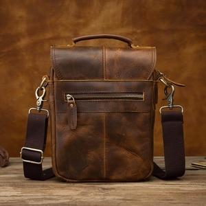 "Image 3 - Quality Leather Male Casual Design Shoulder Messenger bag Cowhide Fashion Cross body Bag 8"" Tablet Tote Mochila Satchel bag 152"