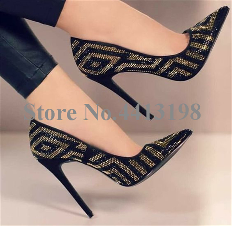Pompes Talons Solide Pointu Mince Cristal Automne Chaussures Casual Haute Slip Femmes Super Sexy Noir As on Bout Picture wqEFXwp