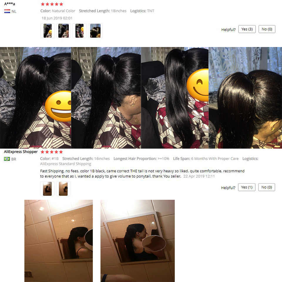 Lange Peruaanse Paardenstaart Human Hair Extensions Straight Remy Haarstukje Magic Wrap Around Clip In Paardenstaart Voor Vrouwen