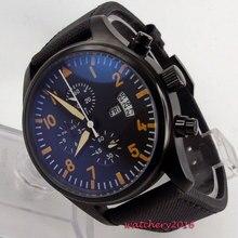 Newest 42mm parnis black dial PVD case Crystal Classic vintage style luminous Quartz movement chronograph mens Wristwatches