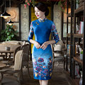 New Arrival Fashion Velour Knee Leng Cheongsam Chinese Women's Summer Dress Elegant Qipao Vestidos Size S M L XL XXL XXXL 27622A