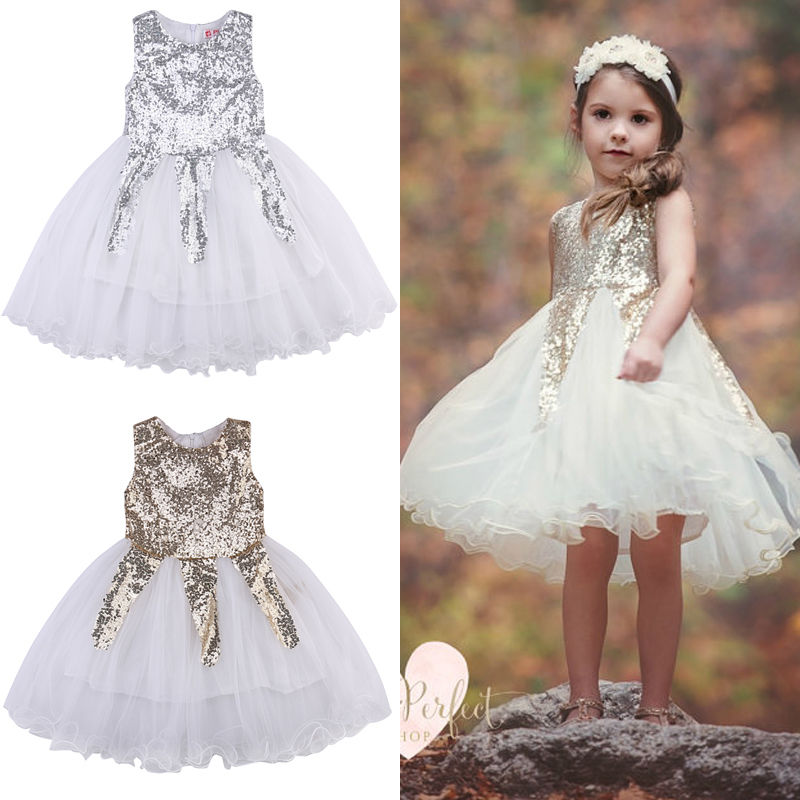 Toddle kids girl princess party dress sequins gold silver for Silver ball gown wedding dresses