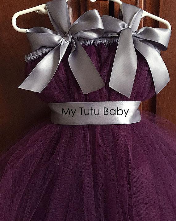 f33f09f3018 Eggplant Silver Flower Girl Tutu Dress for Wedding Party Purple Kids Girl  Dress with Belt Princess. sku  32791108938