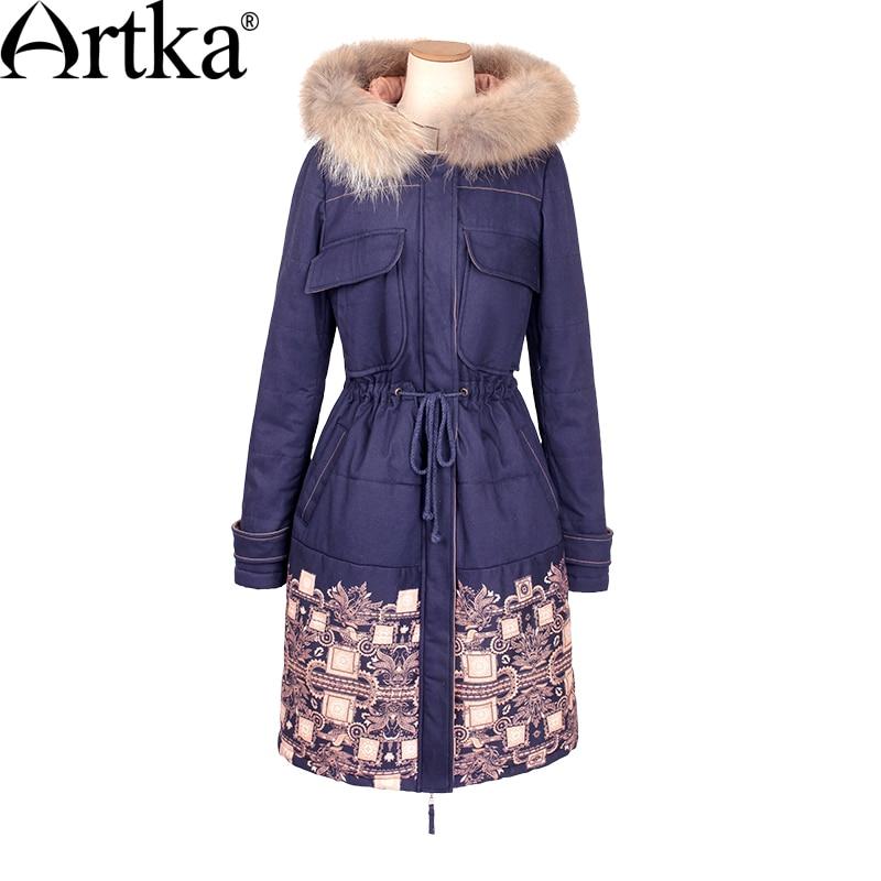 ARTKA Fourrure Parka Femmes D hiver Vers Le Bas Veste 2018 Chaud Parka  Ethnique Imprimer Manteau Femelle Long Imperméable Cordon Taille Veste  MA15157D dans ... b09662f35d2c