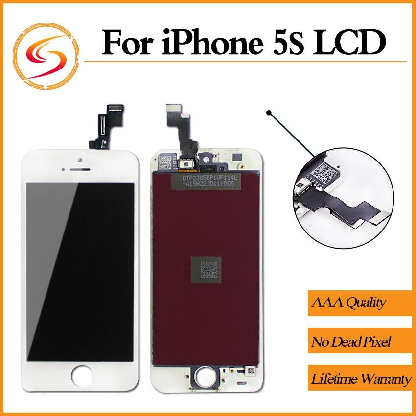 imágenes para Grado aaa + + + 10 unids/lote para iphone 5s lcd genuino original con pantalla táctil digitalizador reemplazo del envío gratis