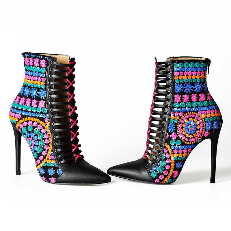 Pembe avuç içi sıcak sonbahar kış kadın çizmeler katı avrupa bayan ayakkabıları kadın pullu çizmeler yüksek topuk Aankle botları Bota Feminina