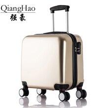 QiangHao New Fashion  Baggage Design Solid Zipper 16 inch  Suitcase TSA LOC  Luggage women Travel bag Men PC Spinner Luggage