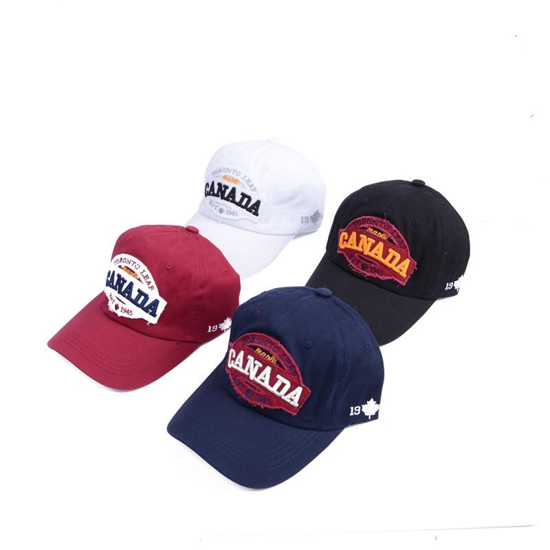 Kanada Baseball Cap Snapback Caps Fit Casual Casual Gorras Táta Klobouky pro muže Ženy Sportovní Golf Volný čas Klobouky Pánské doplňky