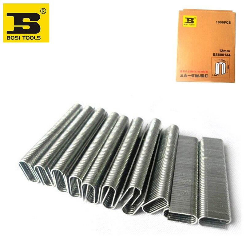 Free Shipping BOSI 1000pc/pack Round Crown Staples 12/25inch/12mm leg long цены