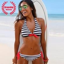 SEXY Women Bikini Set Sweet Red Bowknot Push up Bikinis Deep V Top Low Waist Bottom Summer Swimming Pool Black Stripes Swimsuit