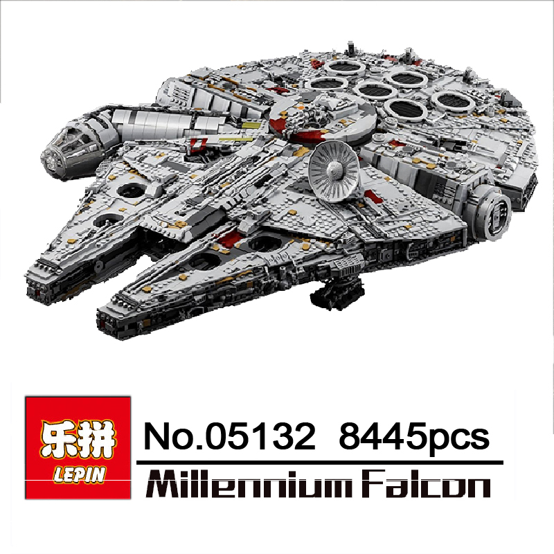 DHL LEPIN 05132 Star Series War New Millennium Falcon 8445pcs Compatible with 75192 Ultimate Collector's Model Building Bricks 2018 dhl lepin star series war 05007 05033 05132 building blocks bricks model toys compatible 75105 10179 75192 gifts
